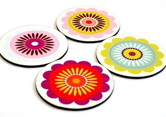 Drink coasters, Wooden coasters, Wood coaster, Floral Pastel set of four unique Modern coasters