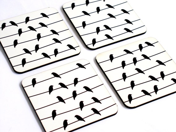 Bird on a wire Black white Modern Decorative Patterned Coasters - set of 4