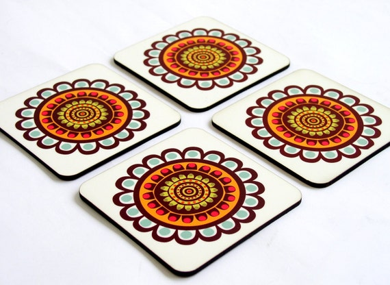 Drink coasters, Wood coasters, wooden coasters, Turquoise brown floral Modern coasters, coaster set, set of four drink coasters