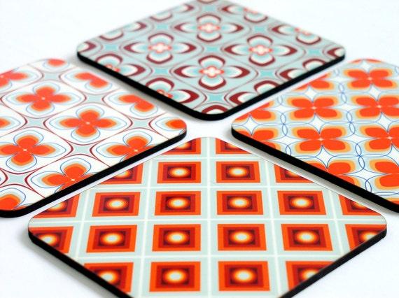 Coaster set,Red Blue Geometric coasters,retro coasters,Decorative Drink Coasters,set of 4 coasters,table decor,gift idea,home decor