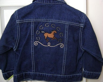 Upcycled Boy's Denim Embroidered Cowboy Jacket