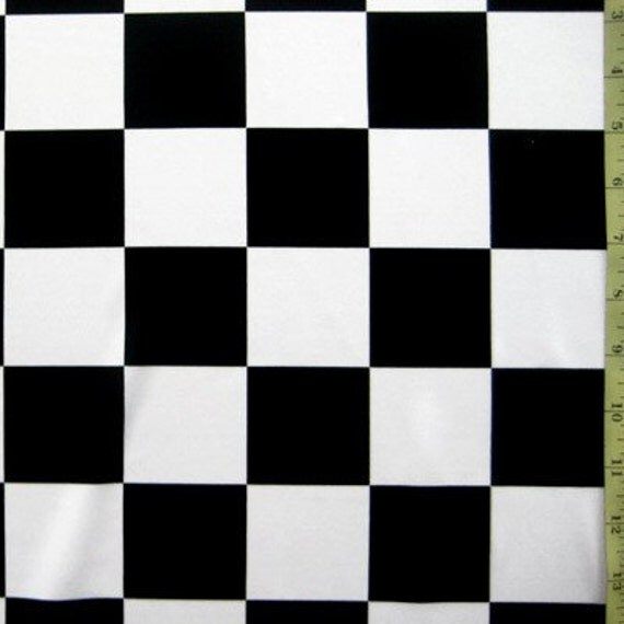 """Black and White 2""""  Racing Checks Stretch Lycra Fabric - 24"""" x  33"""" for Crystal"""