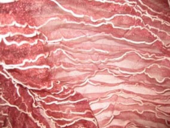Burgundy Sheer Mini Ruffles Stretch Lycra Fabric, 1 yd