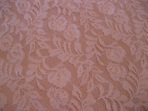 """White Small patterned Floral stretch Lace,  9"""" x 15"""""""