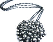 Handmade Black Silver Cluster Necklace
