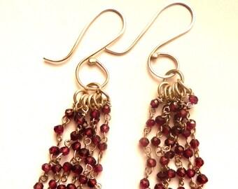 Garnet Drop Earrings, garnet earrings, dangle earrings, gemstone earrings, beaded earrings, handmade earrings, silver and garnet earrings