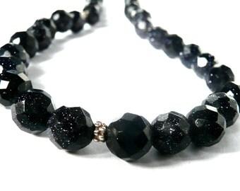 Sparkly Dark Blue Sandstone Bead Necklace