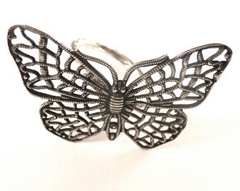 Oxidised Butterfly Ring
