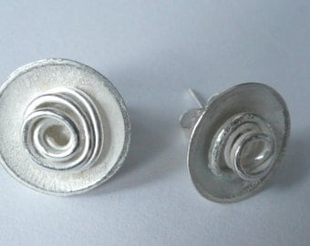 Handmade Domed Silver Earrings with Silver Whirls