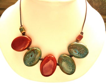 Red and Turquoise Blue Ceramic Bead Necklace