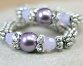 Ring, Pearl and Crystal, Lavender and Opal, Elastic Comfort Band