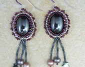 Earrings, Hematite Bead Embroidered Cabochon with Fringe- RESERVED for Traci
