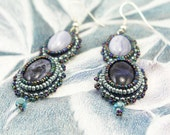 Earrings, Cabochon, Beaded, Sodalite and Blue Lace Agate