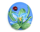 Blue Flower Cabochon with Ladybug, Polymer Clay