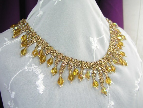 Necklace, Victorian Lace, Swarovski Sparkle Topaz and Gold - Reserved for Margery