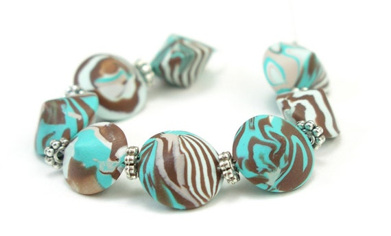 Beads, Bicone Lentil,  Mint Chocolate Chip with Turquoise, Brown, Mint Swirl, Polymer Clay