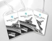 15 Custom Save The Date Wedding Luggage Tags - Paris France Destination Wedding