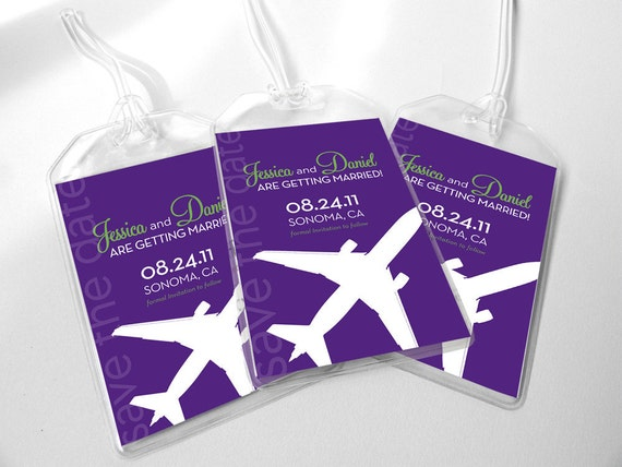 Custom Save The Date Luggage Tags - Modern Airplane in Vinyl Pouch