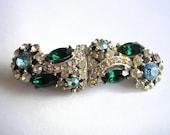 VINTAGE DUETTE,  Dress Clip, Double Clip, Great Gatsby Jewelry, Vintage Jewelry, 1940s Dress Clip,  Rhinestone Duette, Emerald Clip