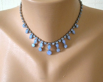 Prom Necklace, Party Necklace, Blue Necklace, Art Deco, Wedding Necklace, Bridal Jewelry, Vintage, Rhinestone Choker, 1950s, Downton Abbey