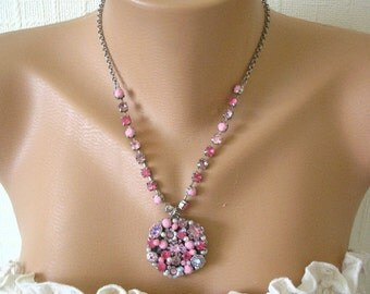 Pink Necklace, Wedding Jewelry, Funky Bridal Jewelry, Statement Necklace, Pink Rhinestone Jewelry,  Bridal Jewelry, Chunky Wedding Necklace