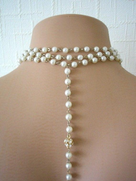 Bridal Necklace With Backdrop, Swarovski Crystal, Wedding Jewelry, Pearl Necklace, Vintage Jewellery, Rhinestone, Upcycled