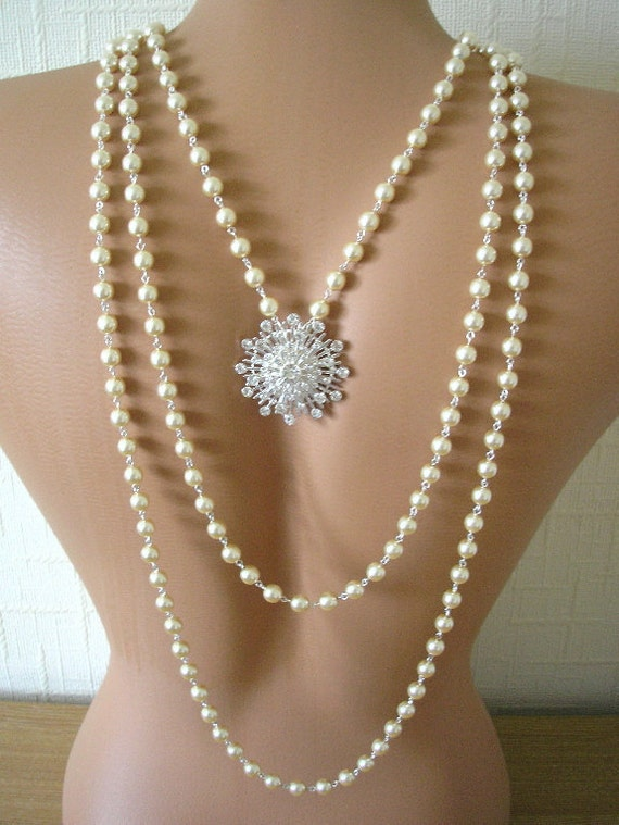 Backdrop Necklace, Bridal, Wedding Jewelry, Pearl Necklace, Rhinestones, Vintage, Statement Necklace, Ruby Red, Red Carpet
