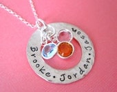 Hand Stamped Jewelry - Personalized Necklace - LOVES of My Life,  A Circle of Names I love with Birthstone Crystals