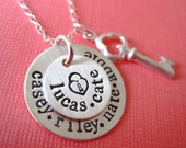 Key and Heart - Personalized Hand Stamped Sterling Silver Necklace  By Hannah Design