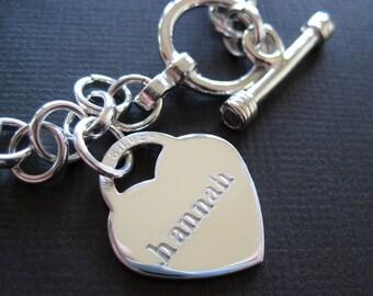 Heart Charm Bracelet - Hand Stamped Sterling Silver Toggle Bracelet