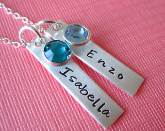 Two Rectangle Sterling Silver Charms and Birthstones - Personalized Necklace
