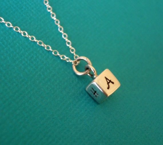 Cube- Solid Sterling Silver Hand Stamped Necklace