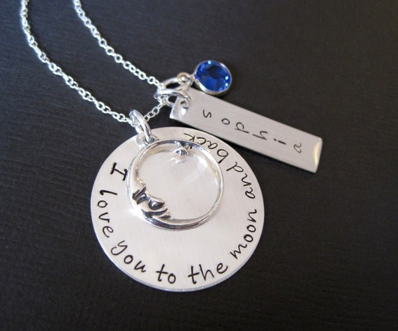 Ultimate I Love You To the Moon and Back Personalized Sterling Silver Necklace with Name and Birthstone