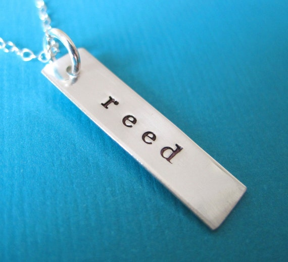 Simple Rectangle Pendant Personalized Hand Stamped Sterling Silver Necklace