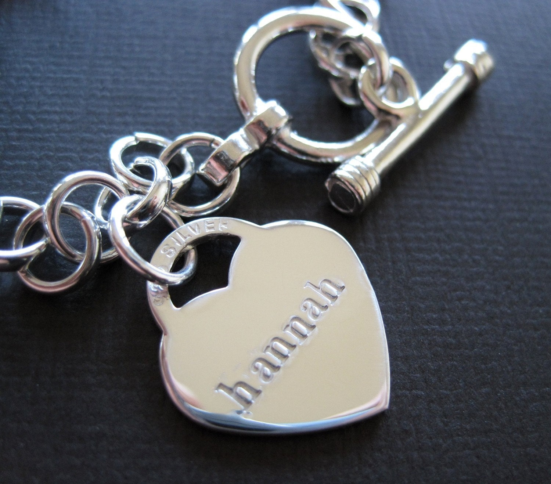 Toggle Charm Bracelet: Heart Charm Bracelet Hand Stamped Sterling Silver Toggle