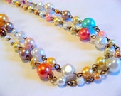 Bethany - white, pink, yellow, brown, blue, red, peach, freshwater pearl, and dark gold necklace