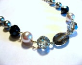 Arianna - gray, black, white, clear, and silver necklace