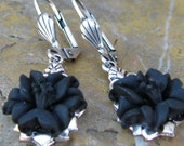 Lucite Flower Earrings in Silver and Black Lily