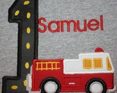 GreatStitch Fire Truck Birthday Shirt 1st Birthday 2nd Birthday Boy