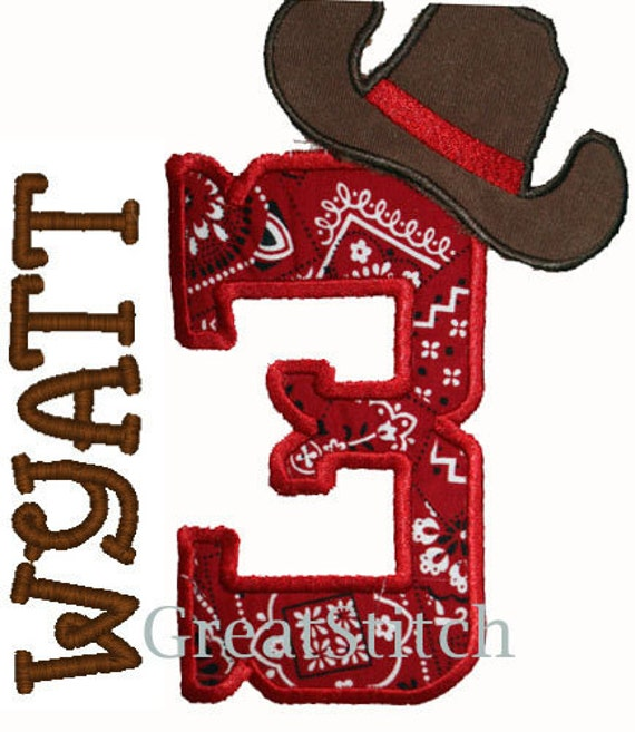GreatStitch Cowboy Birthday 1st 2nd 3rd