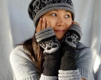Knitted Skull Armwarmers-Fingerless mittens-Fingerless Gloves