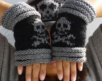 Knitted Fingerless mittens-Fingerless Gloves-Wrist warmer with skull and cross bones
