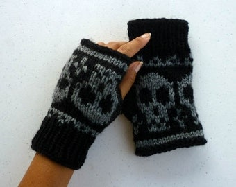 Knitted Wrist warmer- Fingerless mittens-Fingerless Gloves with skulls size S-M