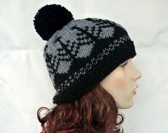 Hand knitted beanie with pom-pom /Tree /Unisex hat /Fair Isle knitting in black and gray color