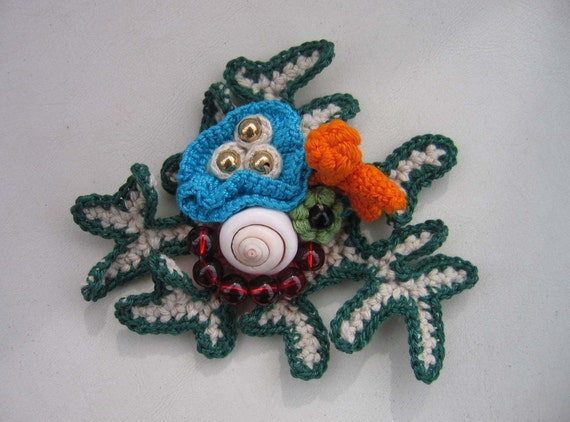 Fiber Art - Crochet Freeform Tropical Reef Brooch / Corsage