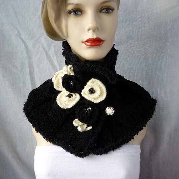 Knitted neck warmer with flowers,Cowl / Scarf / Collar / Scarflette with Flowers / black cowl