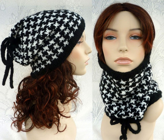 Hounds tooth/Versatile cowl or hat/unisex.Two ways to wear.