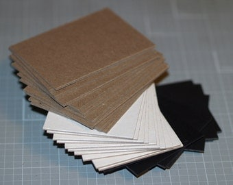 Sample Pack ATC / ACEO Blanks (15) ... Chipboard Mini Pack Black White Kraft Poly Sleeves Art Supplies Heavyweight Blank Cards Thick