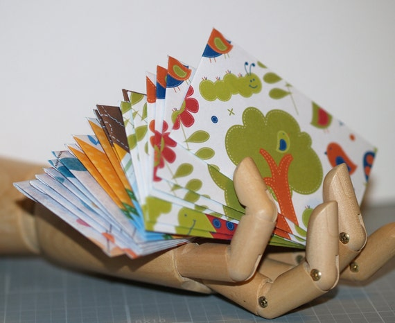 Whimsy ... 36 Mini Envelopes . Business Card Size . Cute . Caterpillar . Floral . Gift Enclosures . Thank You Notes