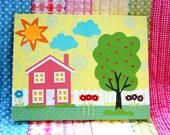 Children's Art - Nursery Rhyme -  Out Came the Sun  -  11x14 Print